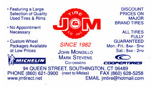 J & M Tire Co. Inc. Business Card