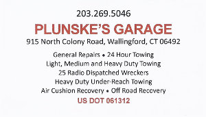 Plunske's Garage Business Card