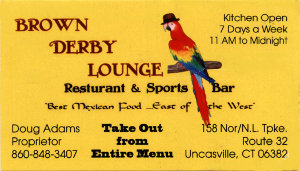 Brown Derby Lounge Business Card